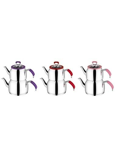 Taç tac-nestaaıle Taç Nesta Aile Boy Çaydanlık - 3 Farklı Renk Pembe